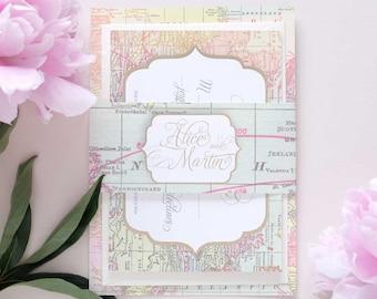 Vintage map wedding bellyband wedding invitation package