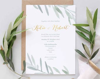 Olive leaves Wedding Invite | Leafy green wedding invite | Italian Wedding Invite