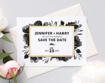 Black rose wedding save the dates