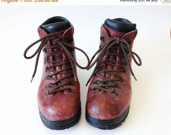 ON SALE Vintage Brown Scarpa Boots Mens Hiking Boots Heavy Climbing Boots Brown Leather Mountaineering Boots Size 40 1/2 Hiking Boots Made I