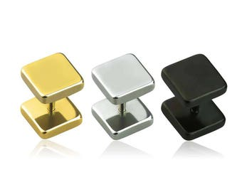 316L Surgical Steel Square Top Fake Plug