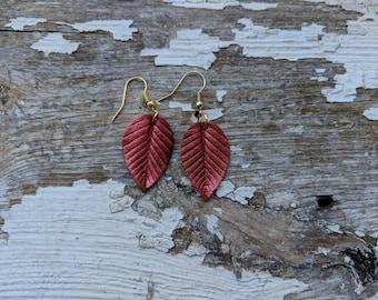 Leather Leaf Statement Earrings/Leather Leaf Earrings/Leaf Earrings/Boho Earrings/Gift For Her