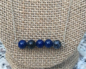 Dark Blue Jade Beaded Dainty Chain Necklace