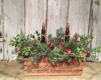Vintage Wood Box Winter Arrangement with Timed Candles, Christmas Arrangement, FAAP, Winter Centerpiece, Colonial Christmas