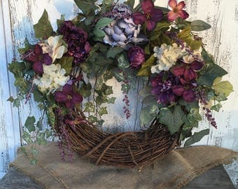 Spring Door Wreath in Plum and Cream, Summer Ivy and Plum Floral Wreath, Everyday Wreath with Hydrangeas and Plum, Grapevine Door Wreath
