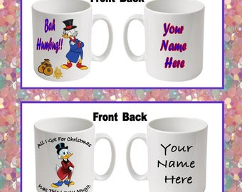 Scrooge McDuck Christmas Printed Boxed Mugs ~ 2 options to choose from ~ can be personalised