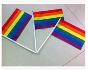 "Pride, LGBT, Transgender, Hand Waver Flags 4"" X 6"" on rolled paper stick"