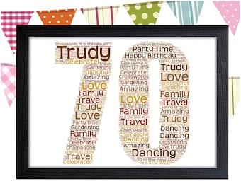 PERSONALISED 70th Birthday Word Art Wall Print - 70 Seventy Adult Sister Aunty Wife Mum Mother Nan Nanny Grandma - Birthday Gift Idea Photo