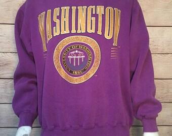 Vintage University of Washington Huskies Crewneck Sweatshirt with University Seal Lux Sit