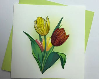 Tulip Quilling Greeting Card