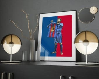 Barcelona Poster, Lionel Messi, Football Wall Art, Instant Download Printable