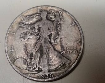 1936D Walking liberty half dollar,  #N707