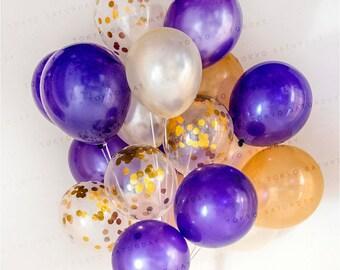 Confetti Balloon Gold & Purple - celebration, set of 12/20/40 wedding, birthday, party - AU Free shipping