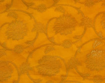 Half Yard of Yellow and Golden Flower and Leaf Pattern Brocade Silk Fabric by the yard