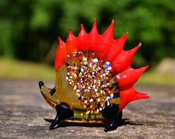 Glass porcupine figurine animals porcupine sculpture art glass porcupine murano miniature animals red toy figure gifts collectible art