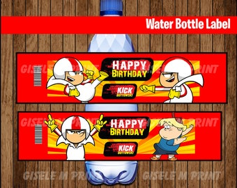 Kick Buttowski Water Bottle Label, Printable Kick Buttowski Water labels, Kick Buttowski party Water instant download