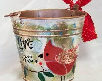 """Bucket Planter """"OISEAUX 2"""""""