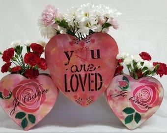 "Large Metal Vase Centerpiece- ""BIG LOVE"""