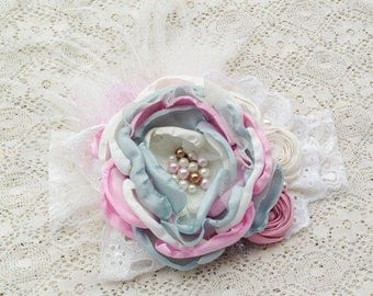 boutique de bonbons - baby headband, first birthday headband, baby gift, newborn headband, cake smash, flower girl headband, pink and blue
