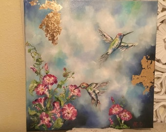 Hummingbirds with bluebells, 40cmx40cm, golden Bread, original, impressionist