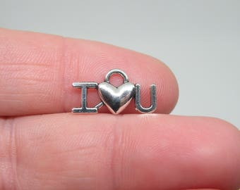"16 Silver Tone ""I love you"" Charms. B-027"