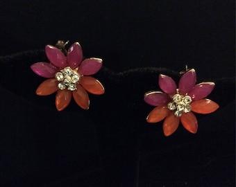 These Earrings are screaming FUN! Fuschia, Coral and Rhinestone stud earrings