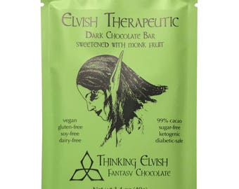 Elvish Therapeutic - 99% Dark Chocolate Sweetened with Monkfruit - Vegan, Soy-free, Organic Ingredients