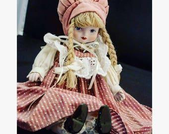 Porcelain Doll, Vintage Pink Porcelain Doll