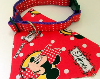 Minnie Mouse dog collar set