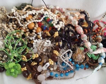 Just over 5 lbs Junk Drawer Destash broken Costume Jewelry Lot for crafting, harvest or repair Bead Soup Broken Bling Crafter's lot