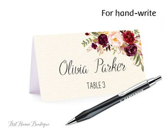 Floral Place Card, Food Tents, Name Card, Seating Card, Instant Download, Digital File