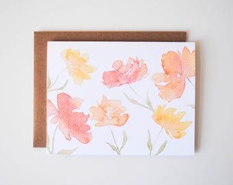 Orange Flowers - Blank Card