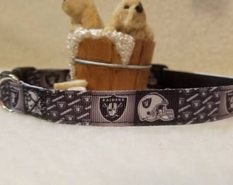 Raiders Handmade Dog Collar 5/8 Inch Wide Medium & Small
