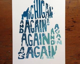 Michigan and Again Snowfall Map Print