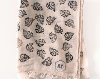 Beige block printed scarves