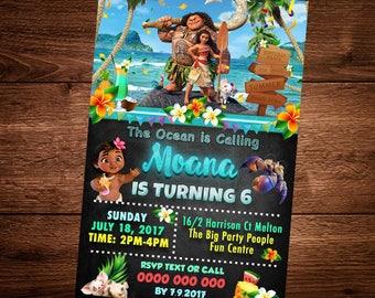 Moana Birthday invitation Card, Moana Movie, Birthday invitation, Party Card, For kids, Editable Text