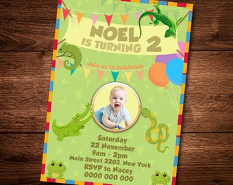 Reptails Invitation Card, Animal invite card for kids, Animal Birthday Card