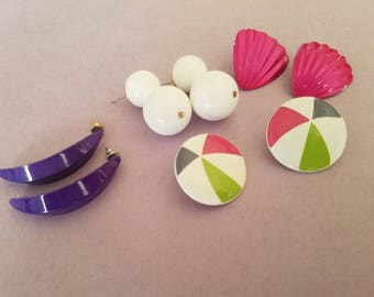 Totally 80s - New Wave Pink, White, Purple, and Multi Color Circle Earrings! Classic 1980s Party Fashion-Great Used Condition!
