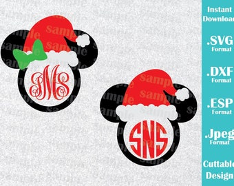 INSTANT DOWNLOAD SVG Disney Christmas Inspired Mickey and Minnie (Monogram Not included) Cutting Machines Svg Esp Dxf Jpeg Cricut Silhouette