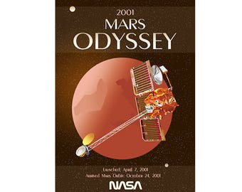 2001 Mars Odyssey - NASA - Original Graphic Poster - Space Poster