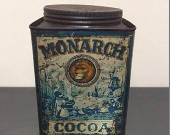 Vintage Monarch Cocoa Tin 1930s