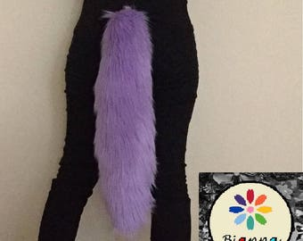 """Lavender Tail, Long Faux Fur Animal, 18"""", Kawaii Anime Cosplay Convention Rave Costume Gear, Furry Accessory Gift Idea"""