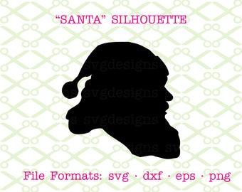 SANTA SVG, Dxf, Eps, Png. Santa Silhouette Svg, Christmas Svg Files for Cricut & Silhouette; Santa Claus Svg, Christmas SVG, Holiday Clipart