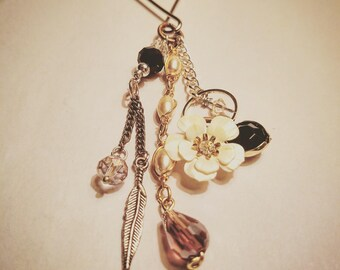 Upcycled Flower and Feather Key Charm