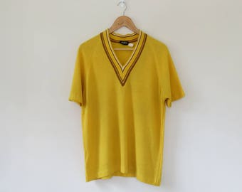 70s Knitted T-Shirt / Yellow Sporty V Neck Tee / Classic Fluffy Sports Jersey Style Top Retro