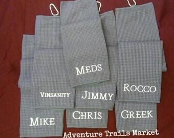 Golf Waffle Weave Towel, monogram golf towel, personalized gift, custom golf towel, personalized golf, gifts under 20, groomsmen gift