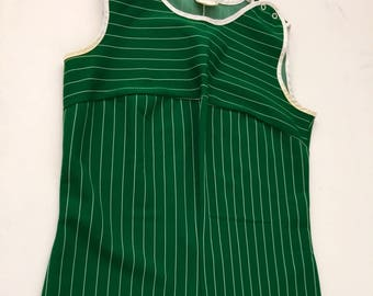 1960's swimsuit one piece bathing suit women's vintage pinstriped bathing suit jumper romper size Medium green gym uniform RARE