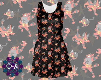 Litten Dress - Skater Dress Pokemon Dress Torracat Dress Pokemon Evolutions Dress Pokemon Sun and Moon Incineroar Dress Plus Size Cosplay