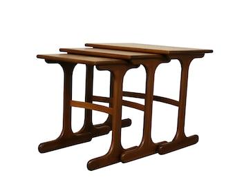 teak wooden fresco nesting tables by gplan 1950s teak wooden nesting tables