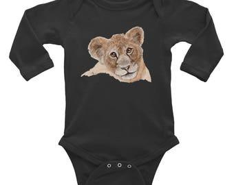 Lion Cub Baby Face Infant Long Sleeve Bodysuit